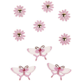 Purple Daisy and Butterfly Embellishments_50-00449