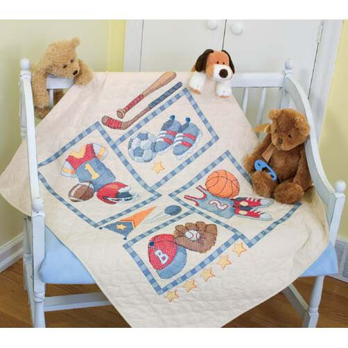 Little Sports Quilt, Stamped Cross Stitch_73255
