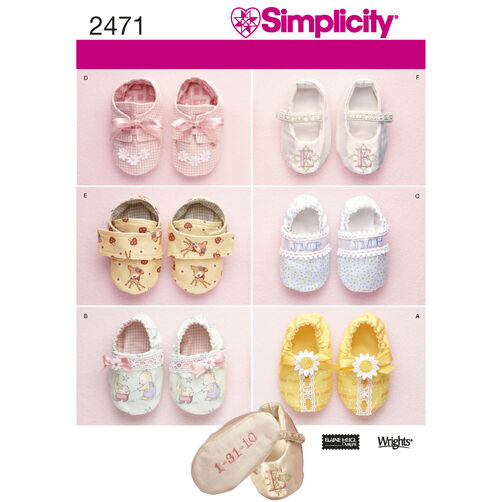 Simplicity Pattern 2471 Baby Shoes