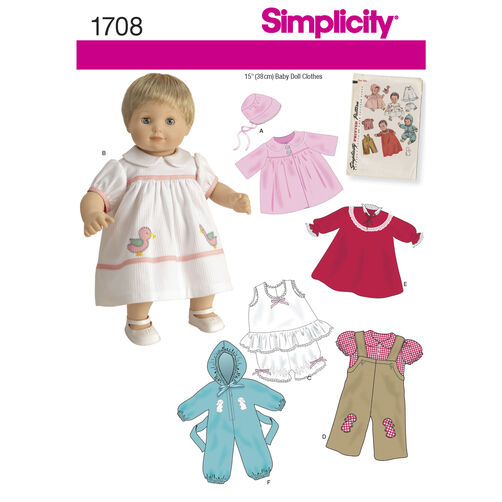 "Simplicity Pattern 1708 1950s Vintage 15"" Baby Doll Clothes"