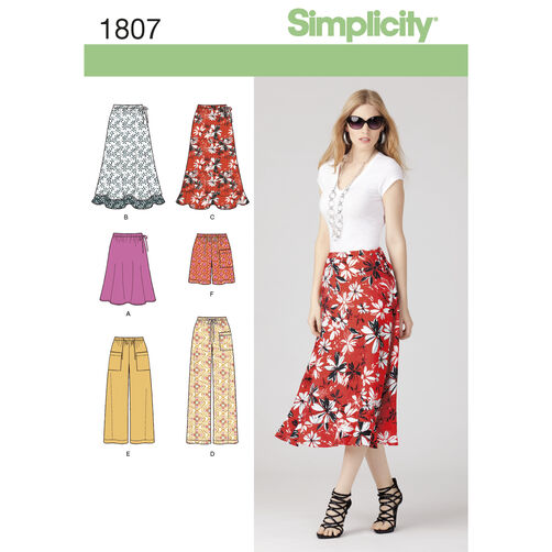 Simplicity Pattern 1807 Misses' Skirt, Pants & Shorts