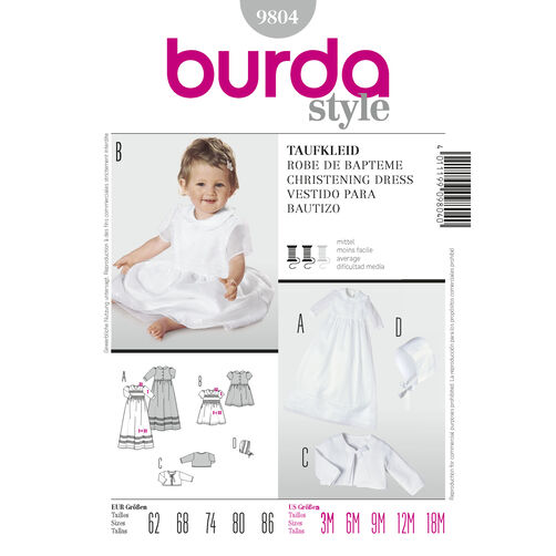 Burda Style Pattern 9804 Christening Dress