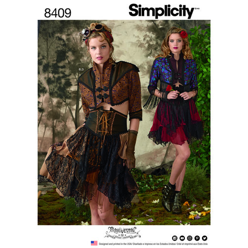 Simplicity Pattern 8409 Misses' Steampunk Bolero and Corset Skirt