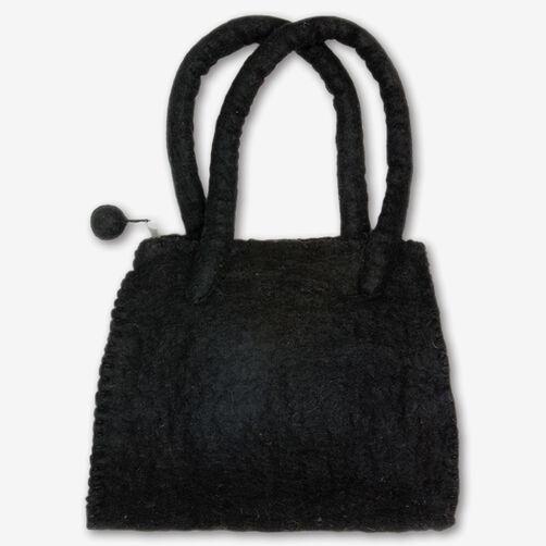 Black Wool Felt Handbag_72-73643