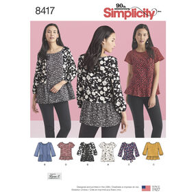 Pattern 8417 Misses' Pullover Tops with Sleeve and Fabric Variations