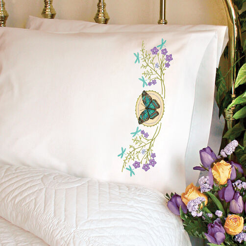 Butterfly Meadow Pillow Cases Stamped Cross Stitch_72-73888