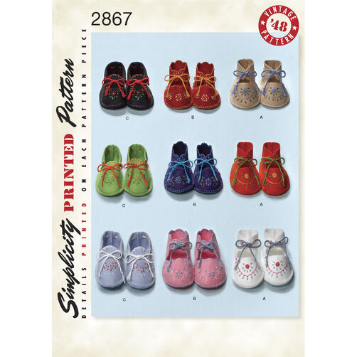 Simplicity Pattern 2867 1940s Vintage Baby Booties