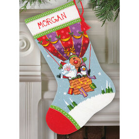 Santa's Balloon Ride Stocking, Needlepoint_71-09156