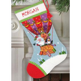 Santa's Balloon Ride Stocking, Needlepoint_71-09156
