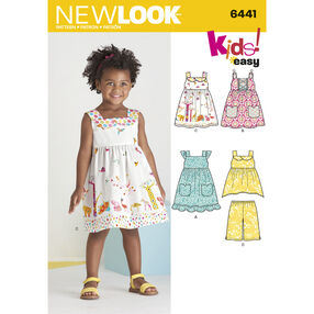 New Look Pattern 6441 Toddlers' Easy Dresses, Top and Cropped Pants