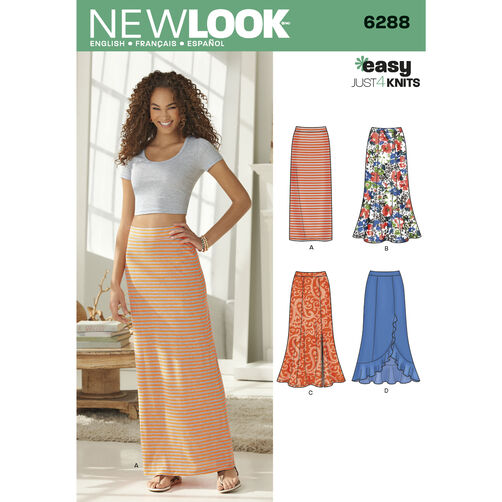 New Look Pattern 6288 Misses' Pull on Knit Skirts