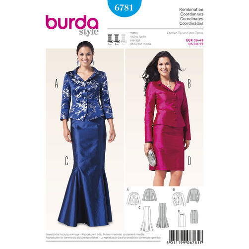 Burda Style Pattern 6781 Coordinates, Pantsuits, Suits