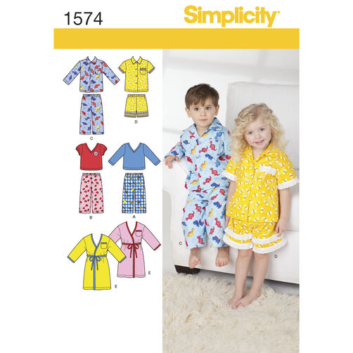 Simplicity Pattern 1574 Toddlers' Loungewear