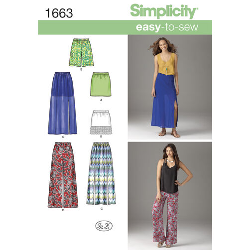 Simplicity Pattern 1663 Misses' Easy to Sew Skirts & Pants