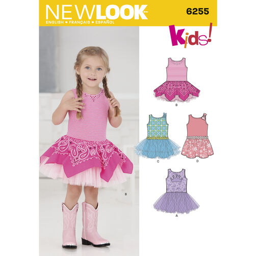 Toddlers' Dress with Knit Bodice