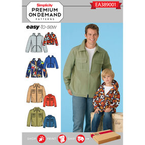 Simplicity Pattern EA389001 Premium Print on Demand Men's/Boys' Jackets and Hoodies