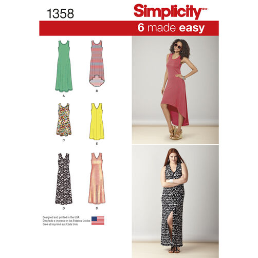 Simplicity Pattern 1358 Misses' Knit Dresses with Neckline Variations