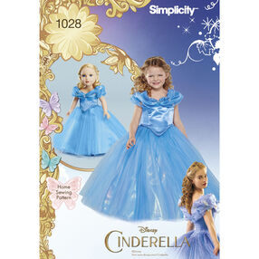 "Simplicity Pattern 1028 Disney Cinderella Costume for Child and 18"" Doll"