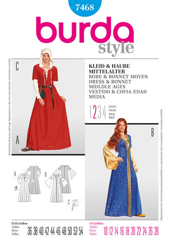 Burda Style Pattern 7468 Dress & Bonnet Middle Ages