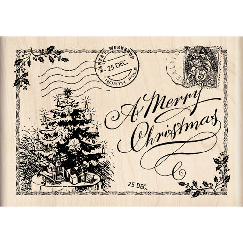 Christmas Post Card Wood Stamp_60-00941