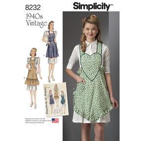 Simplicity Pattern 8232 1940s Vintage Aprons