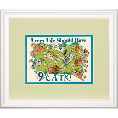 Nine Cats, Stamped Cross Stitch_70-65129