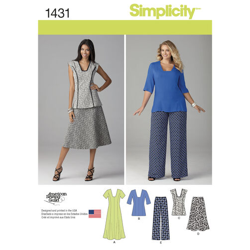 Simplicity Pattern 1431 Misses' and Miss Plus Dress or Tunic, Pants and Skirt