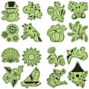 Seasonal Cling Stamp 16-Piece Set_65-32068