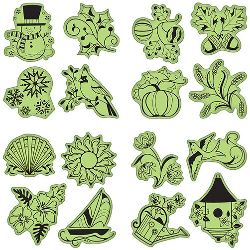 Seasonal Cling Stamp 16-Piece Set_65-32068