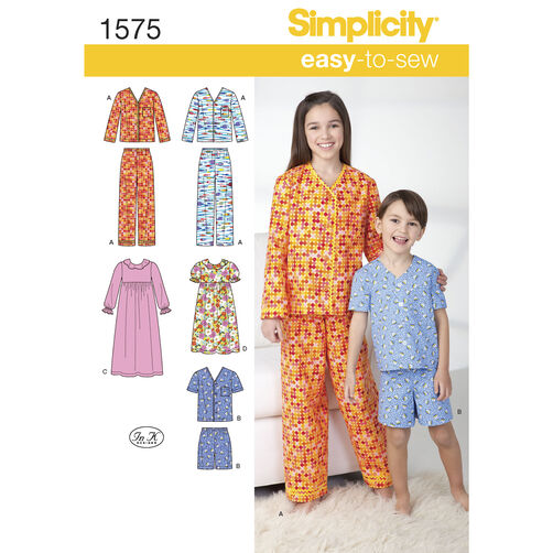 Simplicity Pattern 1575 Child's, Girl's and Boy's Loungewear