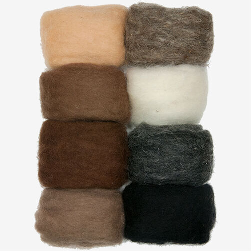 Earthtone Wool Roving - 8 Pack, Needle Felting_72-74004