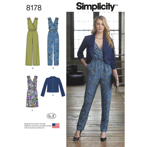 Pattern 8178 Misses' Jumpsuit with Two Leg Widths, Dress and Jacket