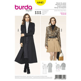 Burda Style Pattern 6845 Jackets, Coats, Vests
