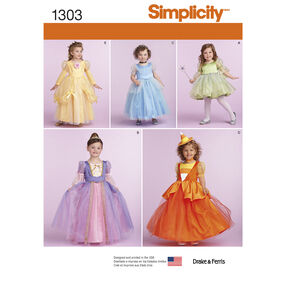 Simplicity Pattern 1303 Toddlers' and Child's Costumes