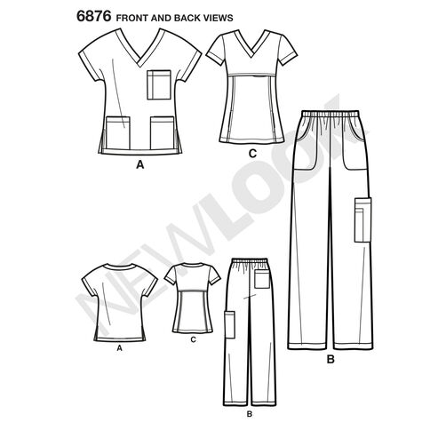 New Look Pattern 6876 Misses' & Men's Scrubs