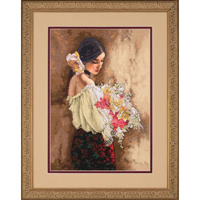 Woman with Bouquet, Counted Cross Stitch_70-35274