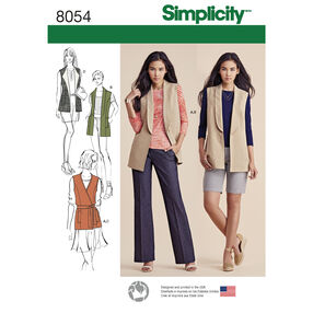 Simplicity Pattern 8054 Misses' Lined Vests and Knit Top