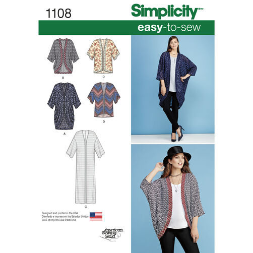 Simplicity Pattern 1108 Misses' Kimonos in Different Styles