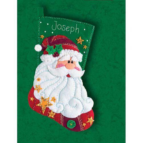Sequined Santa Stocking, Felt Applique_08124
