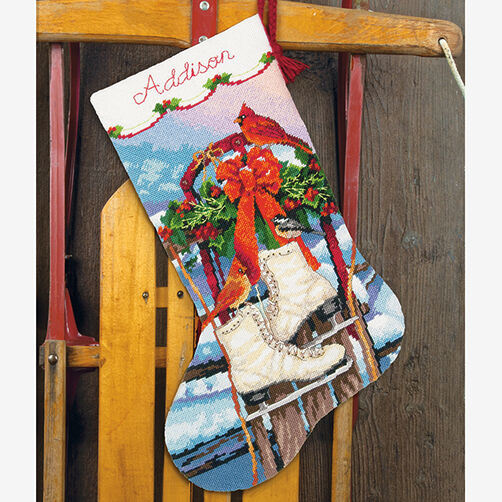 Ice Skates Stocking in Needlepoint_71-09152