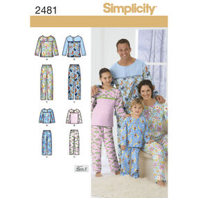 Simplicity Pattern 2481 Child's, Teens' & Adults' Sleepwear