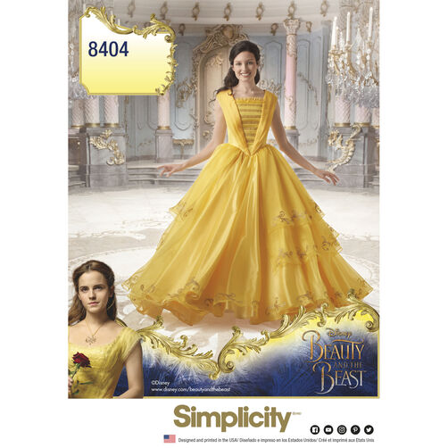 Simplicity Pattern 8404 Disney Beauty and the Beast Costume for Misses
