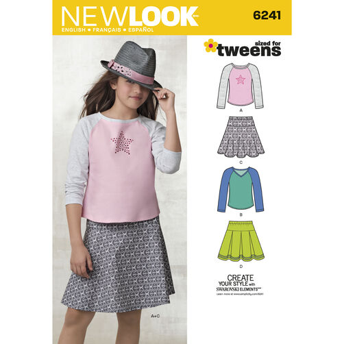New Look Pattern 6241 Girls' Skirts and Knit Tops