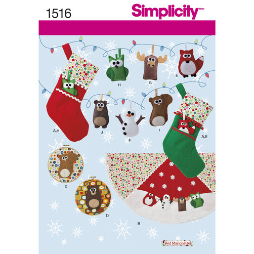 Simplicity Pattern 1516 Felt Ornaments, Wall Hangings, Stocking and Tree Skirt