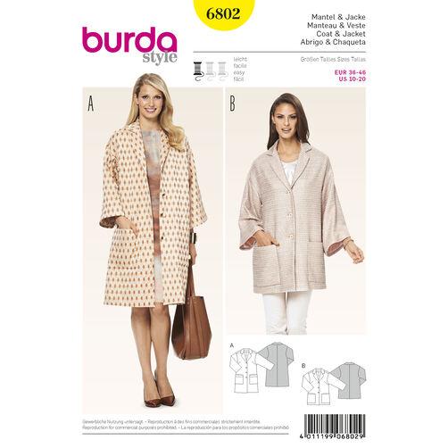 Burda Style Pattern 6802 Jackets, Coats, Vests