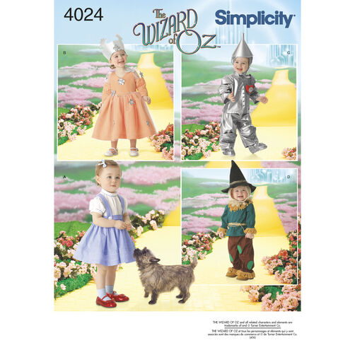 Simplicity Pattern 4024 Toddler Wizard of Oz Costumes