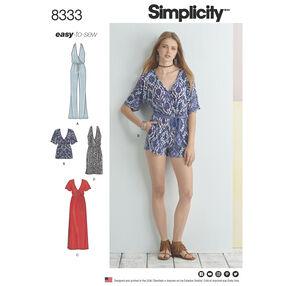 Simplicity Pattern 8333 Misses' Knit Jumpsuit and Dress
