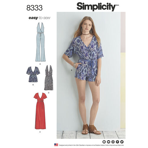 Simplicity Pattern 8333 Misses' Knit Jumpsuit and Dress