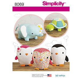 Simplicity Pattern 8069 Stuffed Penguins, Turtle and Elephant