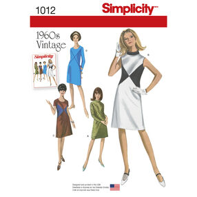 Simplicity Pattern 1012 Misses' and Miss Plus 1960s Vintage Dresses